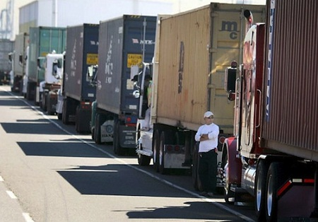 Truck drivers waiting
